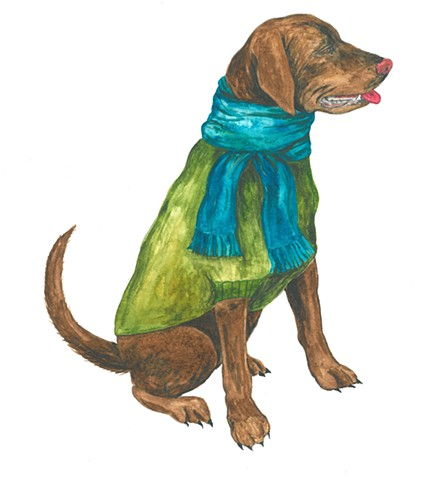 Lily dog watercolor Donna Essig