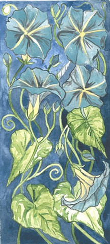 Donna Essig watercolor painting morning glories