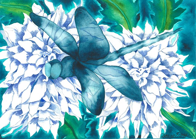 Donna Essig watercolor Dragonfly Dahlia