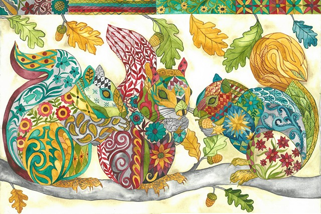 Donna Essig watercolor embroidery pattern squirrels
