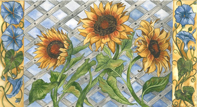 Donna Essig, watercolor, sunflowers, morning glories, textile design