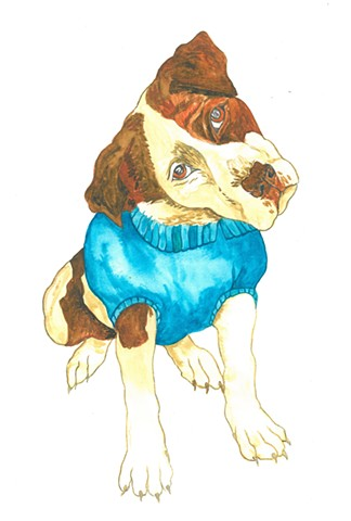 Elfie dog watercolor Donna Essig