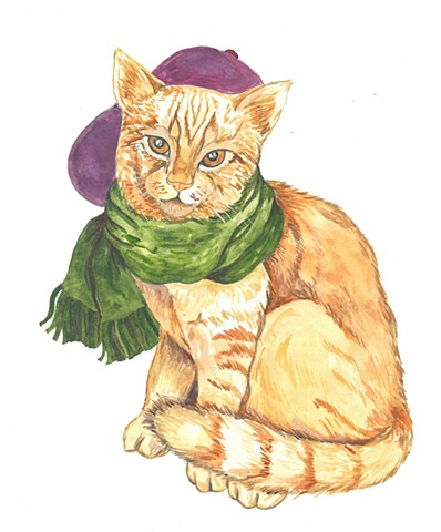 Peaches Cat watercolor Donna Essig