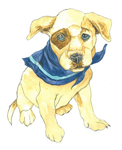 Cowboy puppy watercolor Donna Essig