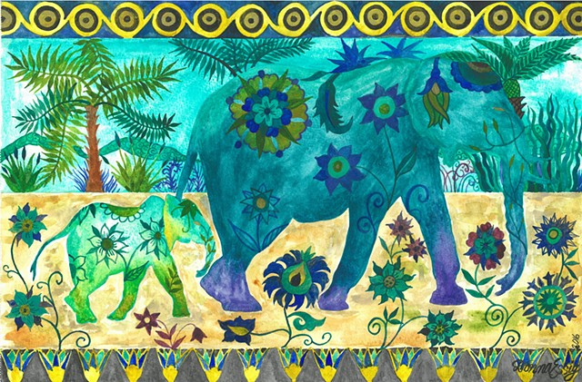 Donna Essig watercolor elephants boho