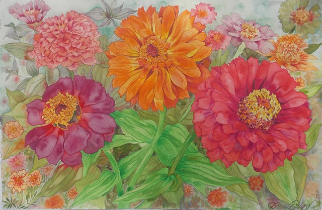Donna Essig watercolor painting zinnias