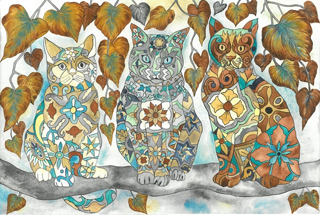 Donna Essig watercolor malibu tile cats