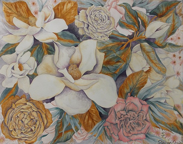 Donna Essig watercolor painting magnolias
