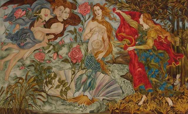 Donna Essig original watercolor painting Botticelli Birth of Venus