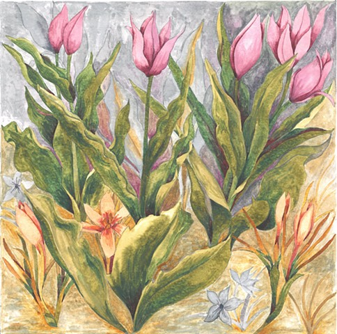 wild tulip flowers watercolor Donna Essig