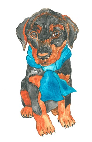 Fred dog watercolor Donna Essig