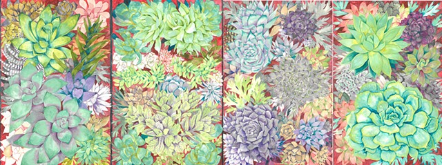 Donna Essig watercolor painting succulents