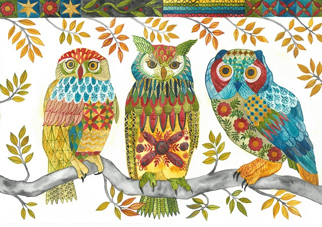 Donna Essig watercolor embroidery pattern owls