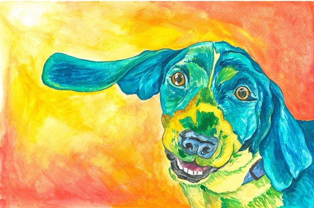 Donna Essig original watercolor painting Beagle dog