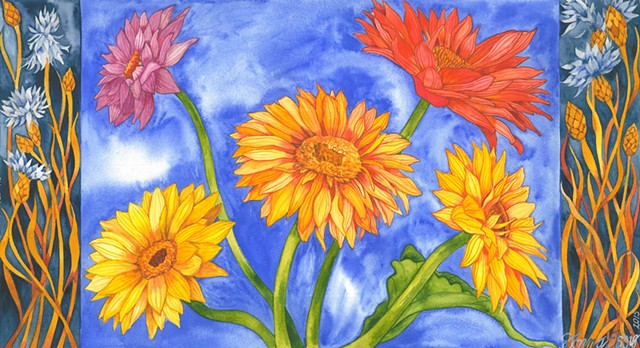 Donna Essig, watercolor, gerbera daisies, flowers, textile design