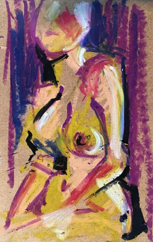 Vibrantly colored original figure study drawn from a live model.