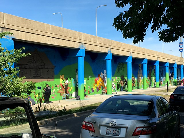 Large Section of Entire Logan Square Dog Park Mural