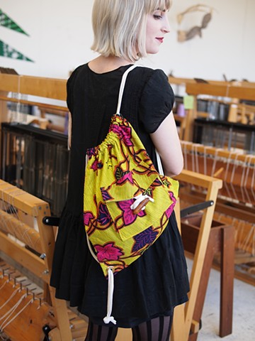 Olivia Drawstring Bag in Neon Leaf
