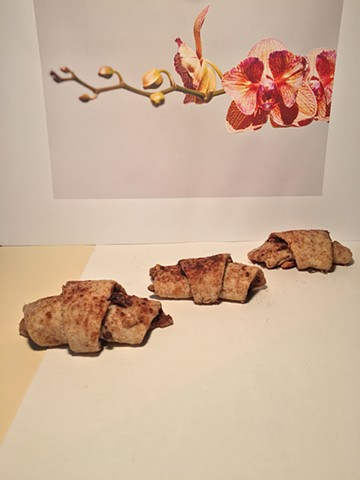 Rugelach Cookie, with orchid