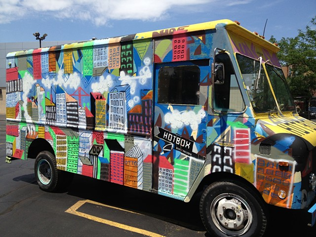 I painted this truck one day in July.  I had a show on the inside of the truck.