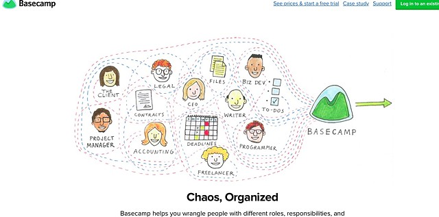 Screenshot of Basecamp Marketing homepage with my illustration