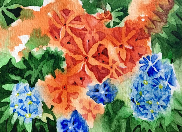 An abstract watercolor of lilies and forget me nots.