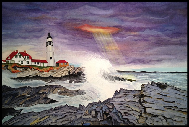 A watercolor painting of a stormy day at Portland Head Light in Maine