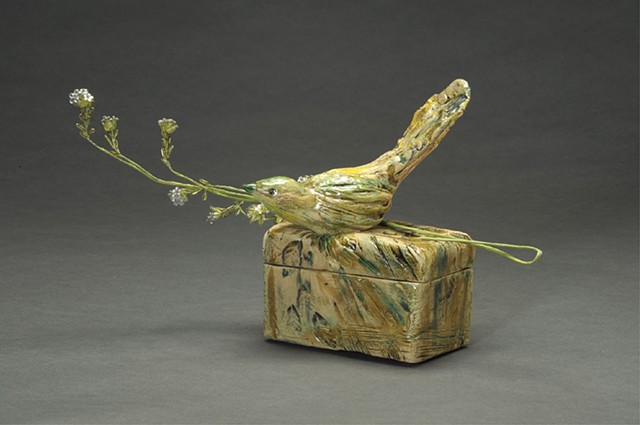 Green Bird on Carved Box