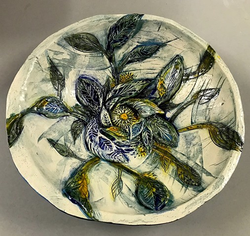 2017 Sculpted Bowl Bluegreen Leaf