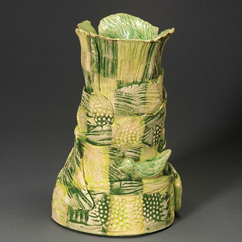 Green Birds Vase, view 2
