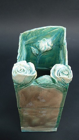 Rectangular Vase with Roses, View 1