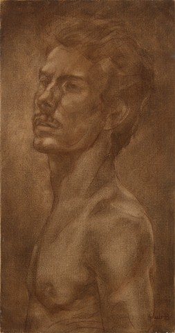 Figurative oil painting of shirtless man