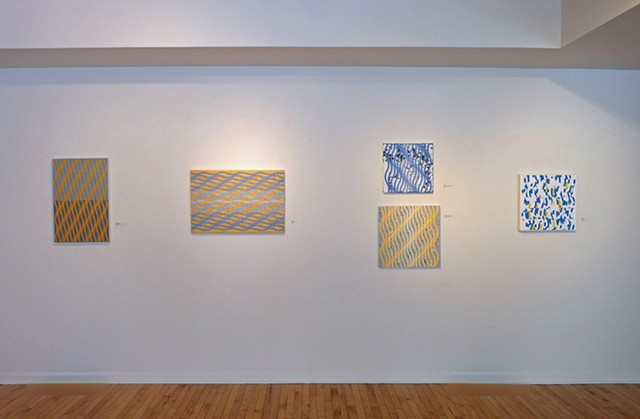 Installation view of paintings by Will Holub in %Intersections% at Five Points Gallery, Torrington, CT.  February 14 to March 16, 2019.  Photo by Will Holub.