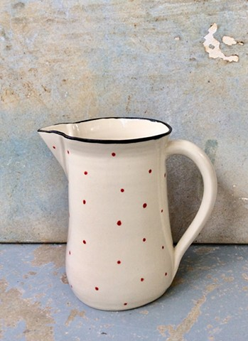 Porcelain polka dot pitcher