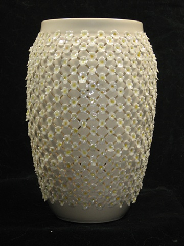 wheel thrown & hand cut porcelain- clear glaze