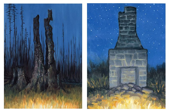Diptych #13 (Burn and Chimney)