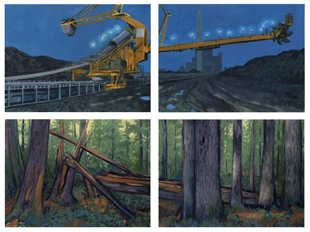 Two Carbon Landscapes (Coal Scooper at Boardman, OR & Forest Study #3)