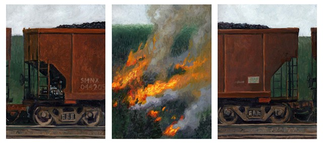 Triptych: Coal Car and Wildfire