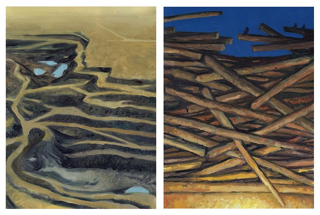 Diptych #12 (Coal Mine and Log Pile)