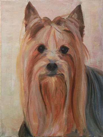 Dog art pet portrait painting of Yorkie