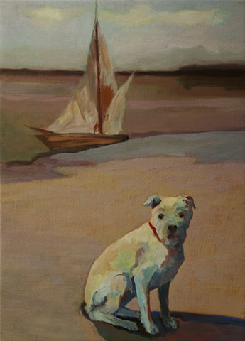 Dog art pet portrait painting of Pit Bull on beach with sail boat