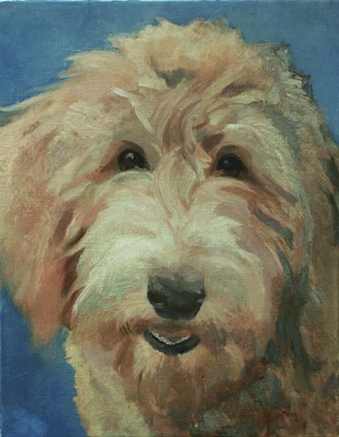 Dog art pet portrait painting of Labradoodle