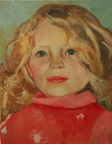 portrait, children, painting, little girl