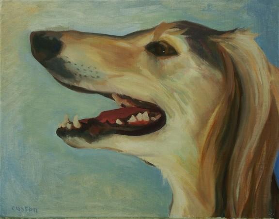 Dog art pet portrait painting of Saluki