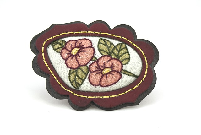 Embroidered Hollycock Flowers