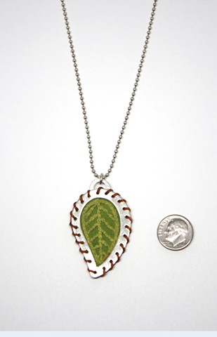 Stitched Leaf Necklace