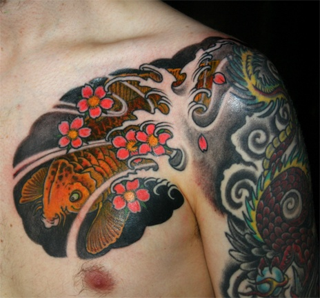 Koi and cherry blossoms chestpiece