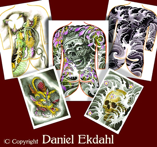 Tattoo art print flash japanese japan  daniel ekdahl family