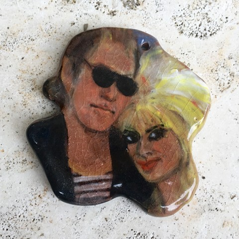 hand made, hand painted ceramic Natural Born Killers wall hanging/ornament