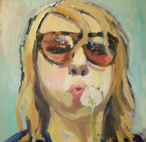 """Self-Portrait with Dandelion"" Private Collection"